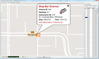 EMTRAC Central Monitor Displaying Stop-Bar Overrun Alert