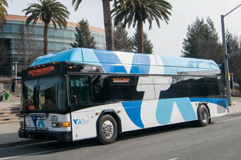 An EMTRAC-equipped rapid-transit bus in San Jose, CA